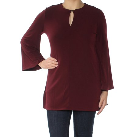 Ralph Lauren Womens Maroon Pleated Bell Sleeve Keyhole Tunic Top Size: S
