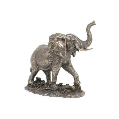 "6.87"" Cold Cast Bronze Color African Elephant Bull Figurine Statue"