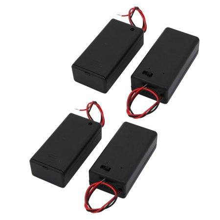 Dual Battery Holder (4Pcs Dual Wires Battery Covered Holder Box Case w ON/OFF Switch for 9V Batteries )
