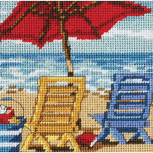 "Dimensions Beach Chair Duo Mini Needlepoint Kit, 5"" x 5"""