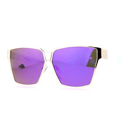 SA106 Diva Oversize Mob Rectangular Mafia Mirror Lens Sunglasses (Row Sunglasses)