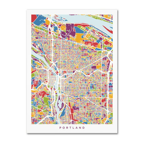 Trademark Fine Art Portland Oregon City Street Map Canvas Art By Michael Tompsett