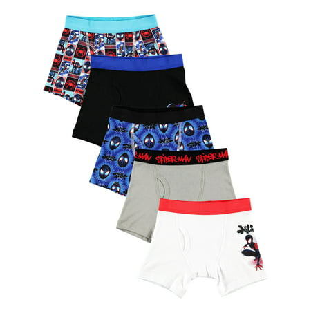 Spiderman Clothes For Boy (Sony Spider-Man: Into the Spider-Verse, Boys Underwear, 5 Pack Boxer)