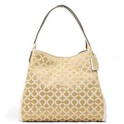 coach madison small phoebe bag in op art sateen fabric; light gold, light khaki, parchment 26448 by