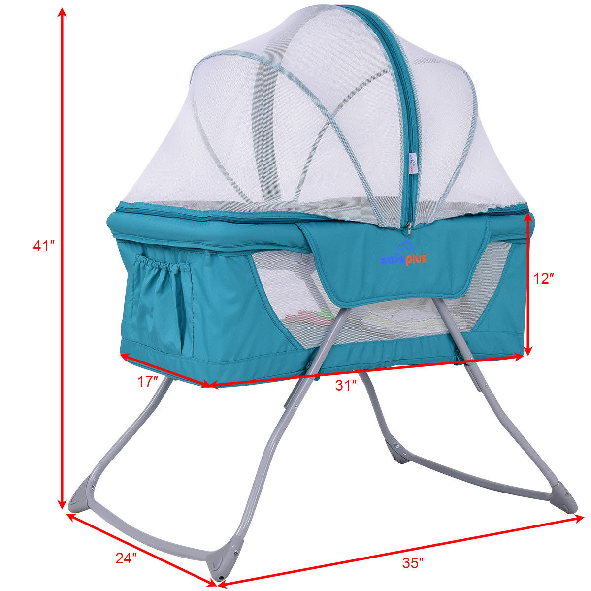 Lightweight Foldable Baby Bassinet Rocking Bed with Mosquito Net Mosquito Net