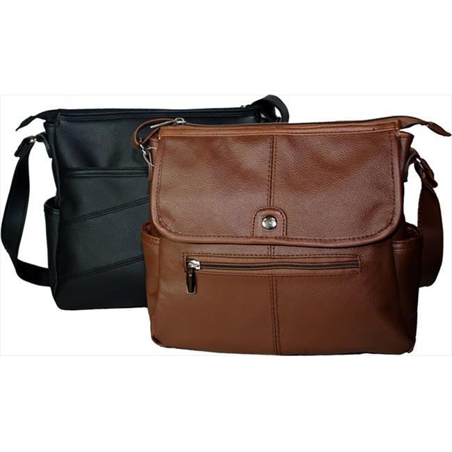 Leather in Chicago kp0091br Cowhide Leather Messenger Bagin Brown