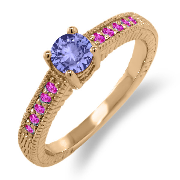 0.64 Ct Round Blue Tanzanite Pink Sapphire 18K Rose Gold Engagement Ring by
