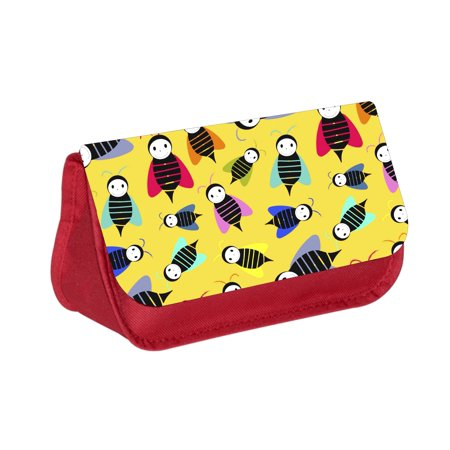 Bumble Bees Print - Girls Red Pencil Case - Pencil Bag - with 2 Zippered Pockets and Nylon Lining