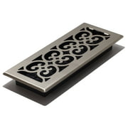 "Decor Grates 4"" x 12"" Scroll Design Brushed Nickel Finish Steel Plated Floor Register"