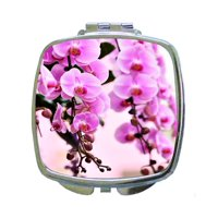 Floral Pink Cherry Blossoms on Branches - Compact Beauty Mirror - Square Shaped