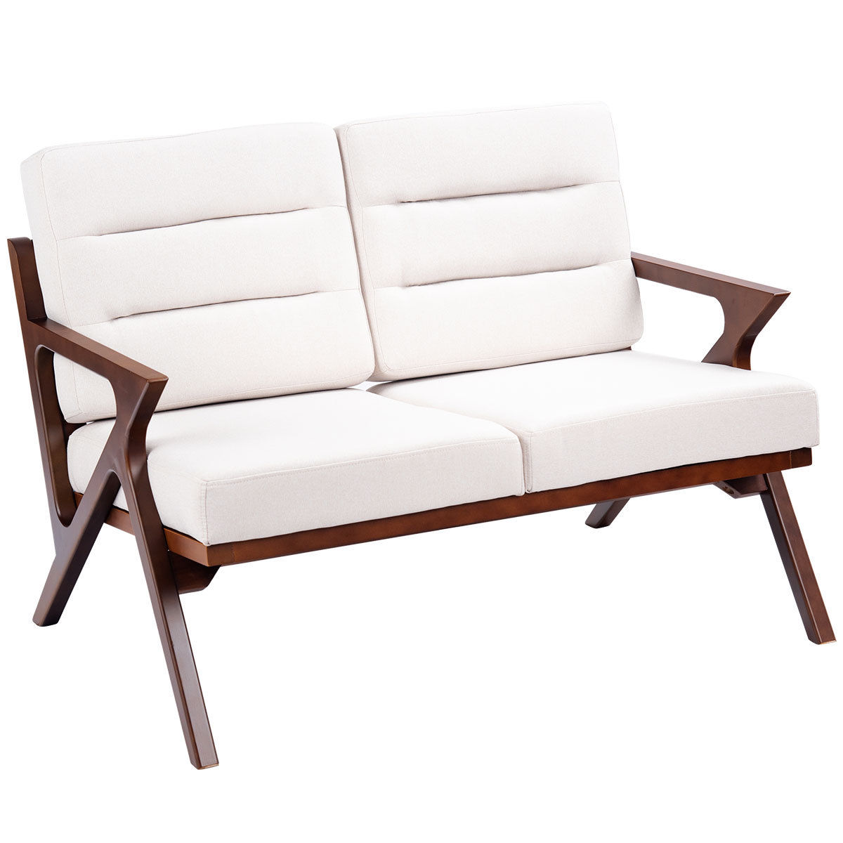 Gymax Loveseat Armchair Sofa Fabric Upholstered Wooden Lounge Chair Two-Seater Beige - Walmart.com  sc 1 st  Walmart & Gymax Loveseat Armchair Sofa Fabric Upholstered Wooden Lounge Chair ...