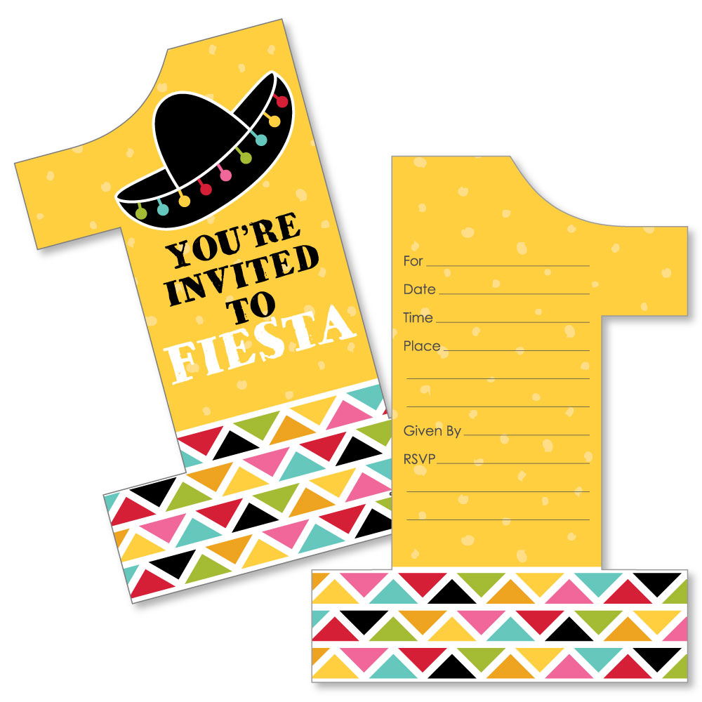 1st Birthday Let's Fiesta - Shaped Fill-In Invitations - Mexican Fiesta First Birthday Party Invitation Cards