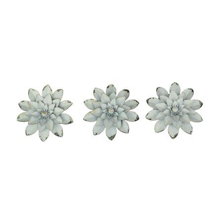 Vintage White Metal Art Flower Sculpture Magnets Set of 3 - image 3 de 3