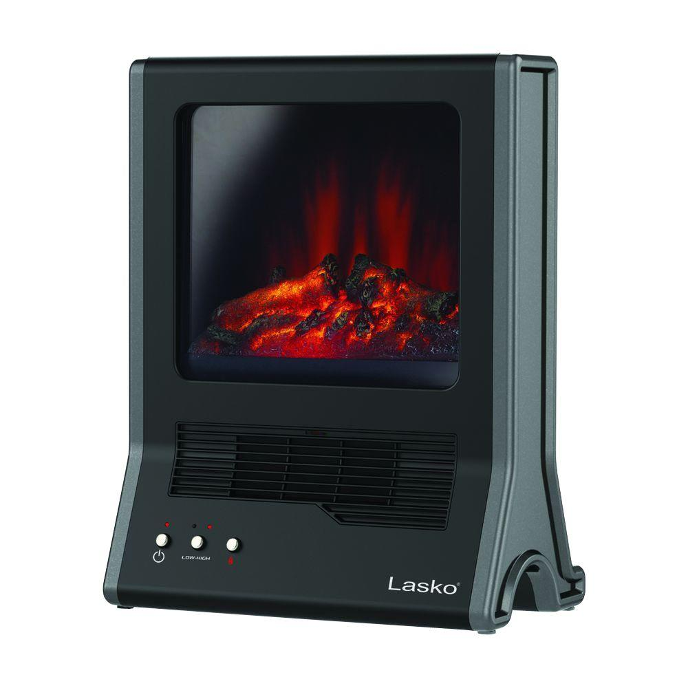 "Lasko Fireplace Ceramic Heater with High/Low Heat Settings & ""Flame Only"" Setting,Cool-touch Window and Exterior, Automatic Overheat Protection"