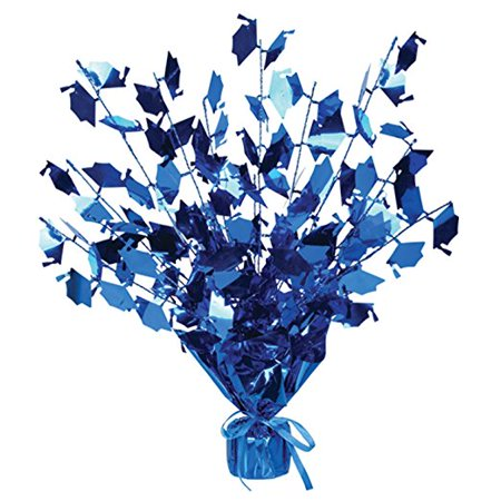 Graduation Burst Centerpiece with Die-Cut Metallic Blue Grad Caps - Graduation Centerpieces Ideas Homemade