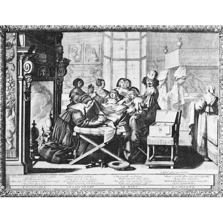 Childbirth 1633 Na Woman Giving Birth With The Aid Of A Midwife Etching 1633 By Abraham Bosse Poster Print By Granger Collection