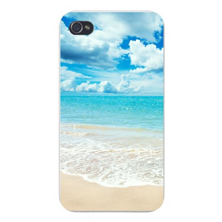 Apple Iphone Custom Case 4 4s White Plastic Snap on - Tropical Paradise Island Beach w/ White Sand & Blue -
