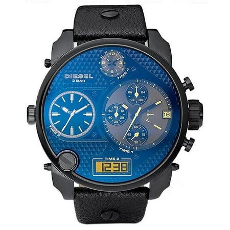 Diesel Men's Mr. Daddy Black Leather Chronograph Watch DZ7127
