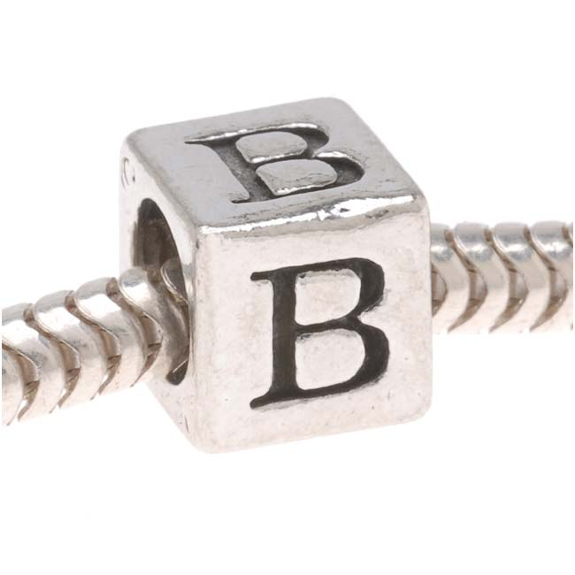 Lead-Free Pewter European Style Large Hole Alphabet Bead, Letter 'B' 6.4mm, 1 Piece, Antiqued Silver