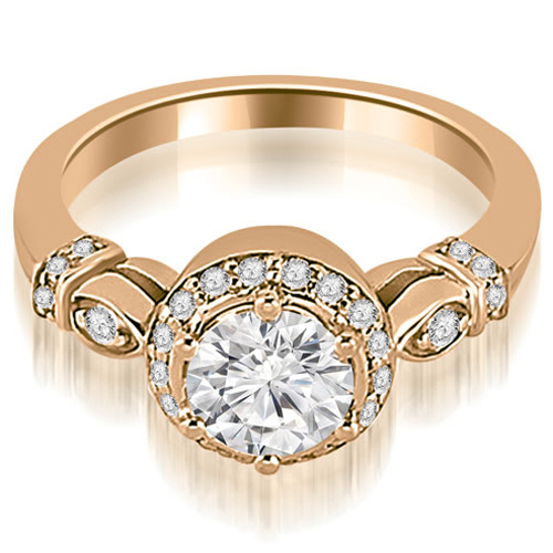 0.55 CT.TW Antique Round Cut Diamond Engagement Ring in 14K White, Yellow Or Rose Gold
