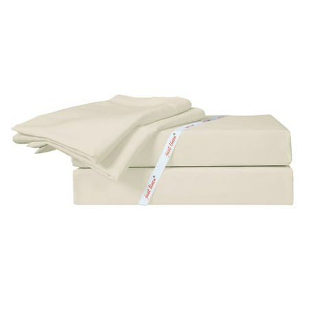 Just Linen 400 Thread Count Solid 100pct Egyptian-Quality Cotton Sateen Sheet Set