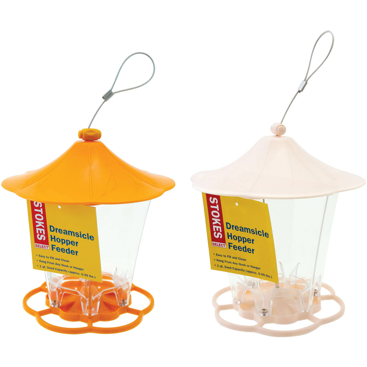 Stokes Select Dreamsicle Hopper Bird Feeder with 6 Feeding Ports, .95 lb Capacity