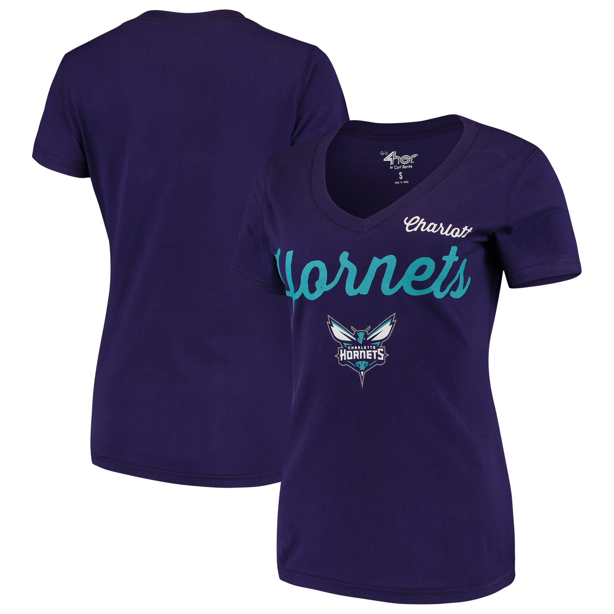 Charlotte Hornets G-III 4Her by Carl Banks Women's Post Season V-Neck Short Sleeve T-Shirt - Purple