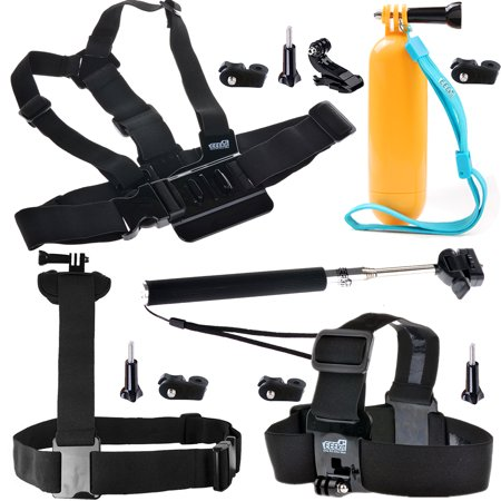 Eeekit 5In1 Kit For Gopro Hero 5 4 3 Sony Sjcam Contour Spypoint  Action Camera  Chest Mount  Head Shoulder Strap  Monopod  Floating Grip
