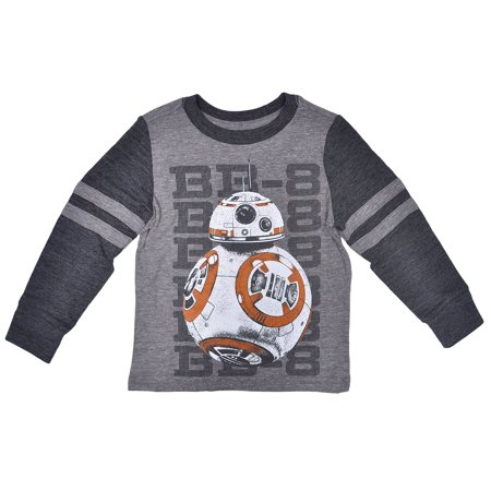 Star Wars Toddler Boys BB-8 Stripe Long Sleeve Shirt Gray](Star Wars Gifts For Boys)