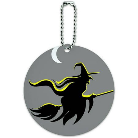 Witch Halloween Round Luggage ID Tag Card for Suitcase or Carry-On](Tags For Halloween)