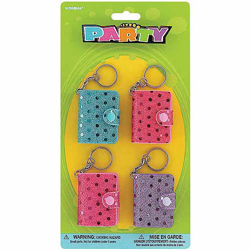 Mini Sequin Notebook Keychain Party Favors, 4-Count