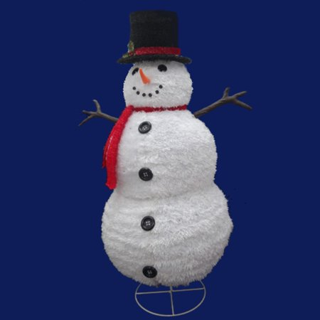 48 Quot Pre Lit Outdoor Chenille Snowman Wearing A Hat And