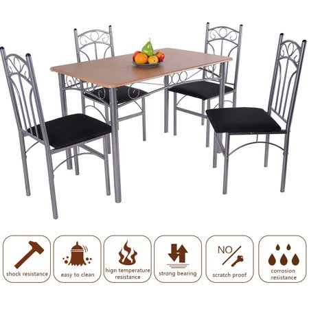 GHP Home/Office 5-Pcs Durable Sturdy Steel Fram and Wood Dining Table & Chairs Set