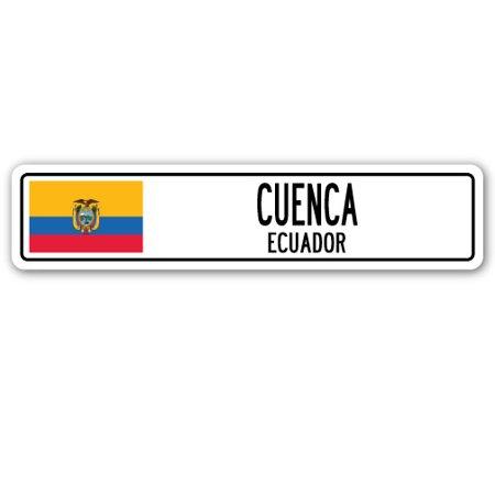 CUENCA, ECUADOR Street Sign Ecuadorian flag city country road wall