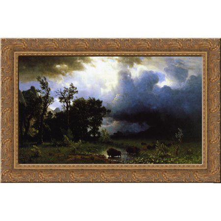 - Buffalo Trail the Impending Storm 24x18 Gold Ornate Wood Framed Canvas Art by Bierstadt, Albert