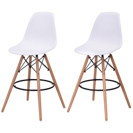 Costway Set Of 2 Dining Side Armless Accent Chair Molded Plastic Seat Wooden Legs White