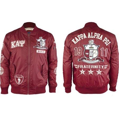 Big Boy Kappa Alpha Psi Divine 9 Bomber Flight Mens Jacket [Crimson Red - L]