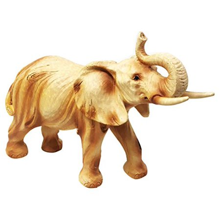 Safari Grasslands Savannah Majestic Elephant With Trunk Up Figurine In Faux Wood Collectible (Faux Polished Wood)