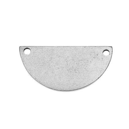 Nunn Design Flat Tag Pendant Link, Blank Half Circle 14.5x28.5mm, 1 Piece, Antiqued Silver Plated - Half Circle Pendant