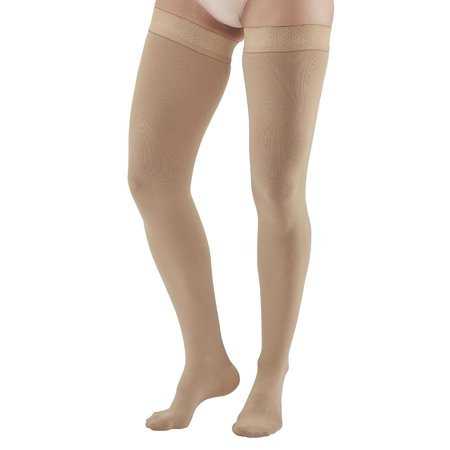 Ames Walker AW Style 392OT Luxury Opaque 30-40 mmHg Extra Firm Compression Open Toe Thigh High Compression Stockings w Dot Sil Band Xlarge man - Aids Blood Circulation - (Sea To Summit Ultra Sil Compression Dry Sack)