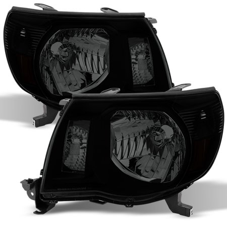 Toyota Tacoma Crystal Headlights (Fits 2005-2011 Toyota Tacoma Pre-Runner Black Smoked Headlights Replacement Lamp )