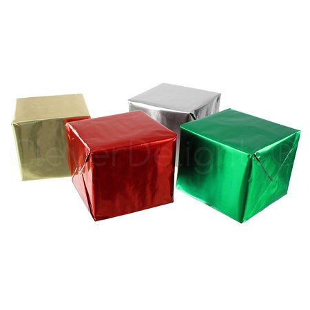 - CleverDelights Metallic Wrapping Paper - 4 Rolls - Silver Gold Red Green - 30
