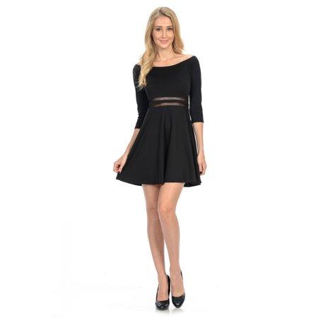 Maryclan Womens Waist Mesh Detail Skater Dress Walmart