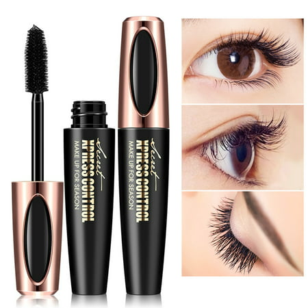 4D Fiber Eye Lash Mascara Cream Extension - Best for Thickening & Lengthening, Silicone Brush Head, Long Lasting Waterproof