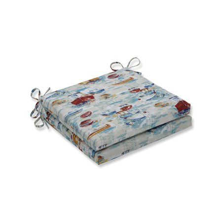 Set of 2 Nautical Pattern UV/Fade Resistant Outdoor Patio Seat Cushions with Ties 20