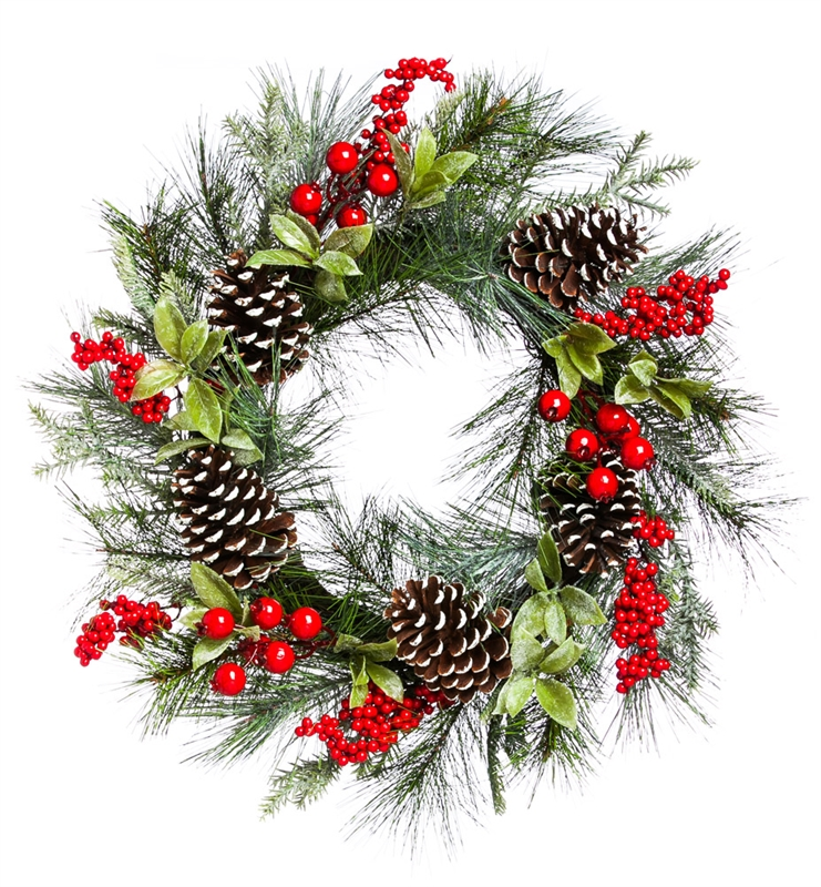 Holly and Pinecone Wreath