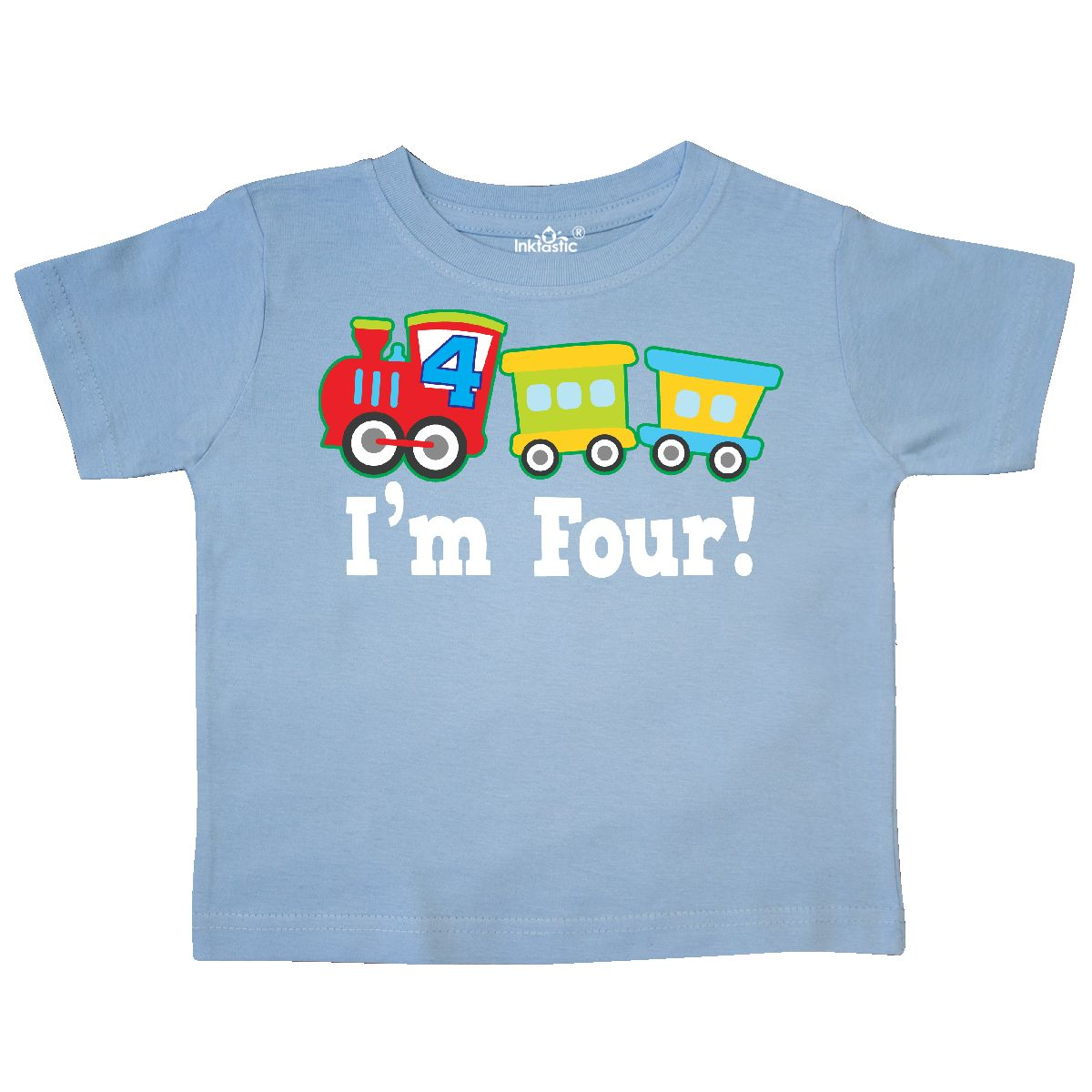 Inktastic 4th Birthday Train Outfit Toddler T-Shirt 4 Year Old Themed Boys Party