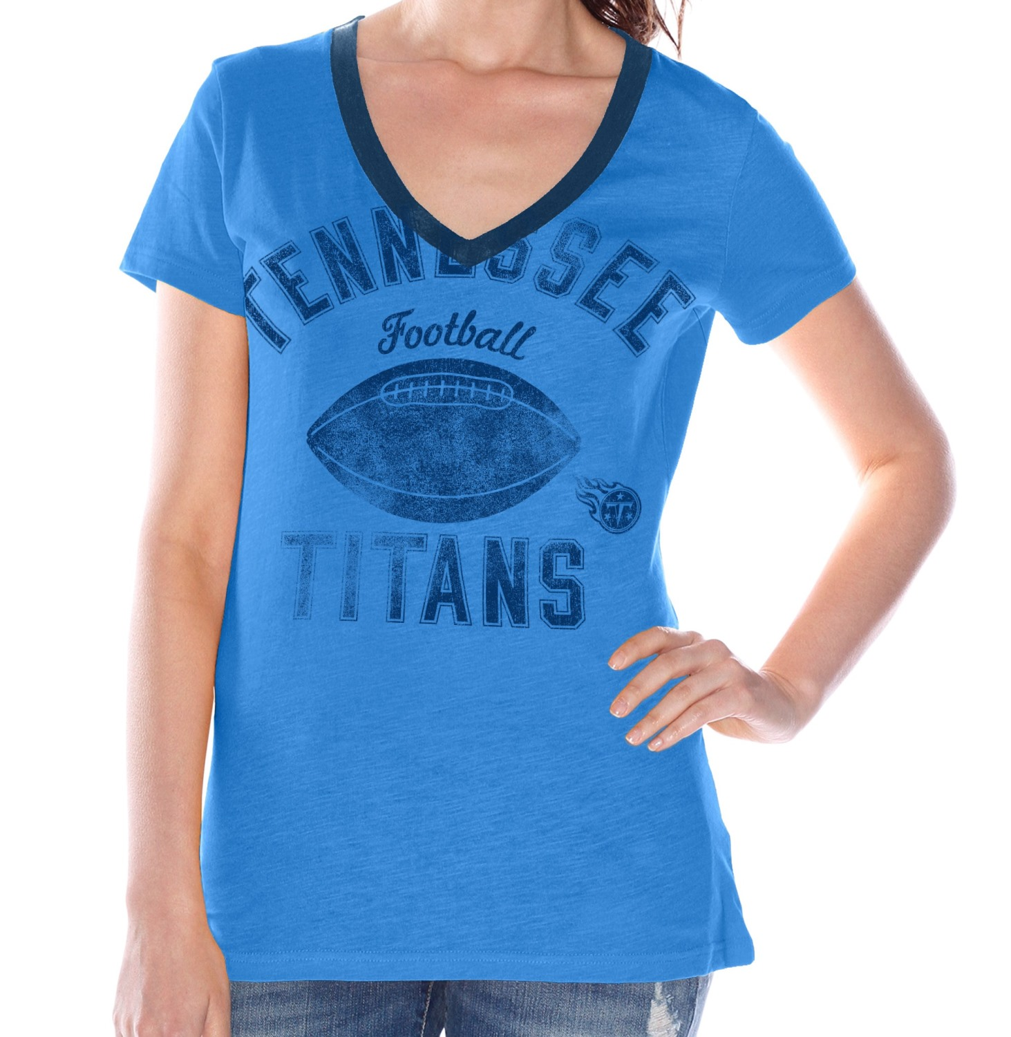 "Tennessee Titans Women's G-III NFL ""Flea Flicker"" V-neck T-shirt"