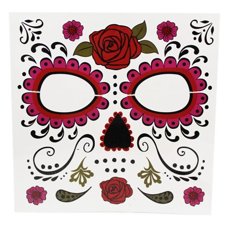 Dia De Los Muertos Lively Floral Skull Face Mask Temporary Tattoo - By - Skull Rose Tattoo