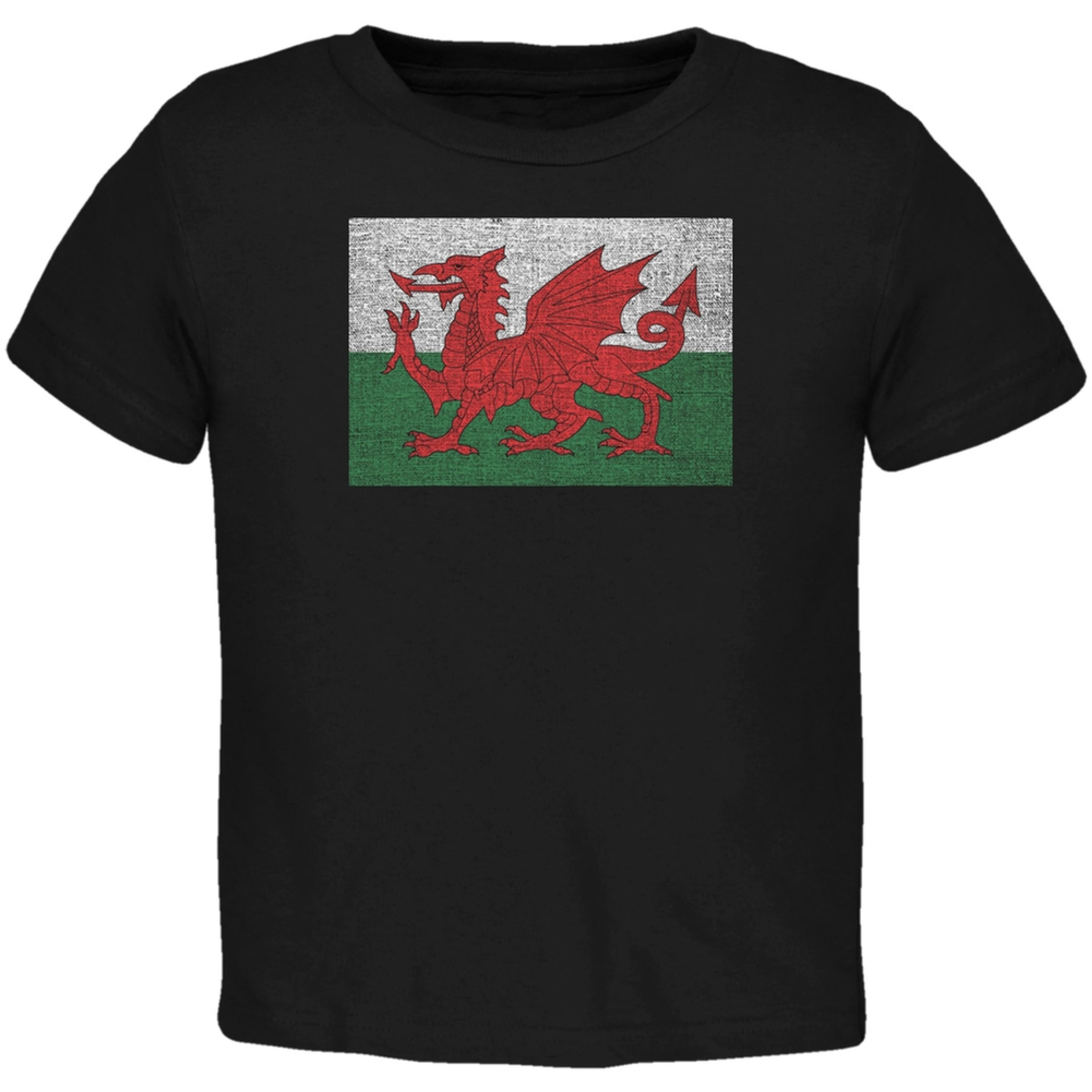 Welsh Flag Distressed Black Toddler T-Shirt